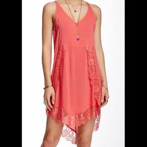 Free People Eyelashes Lace Trim Slip Dress